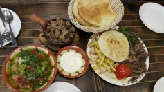 Shawarma plate with Arabic bread